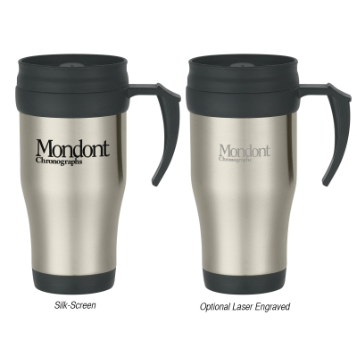 16 Oz. Stainless Steel Slide Action Travel Mug