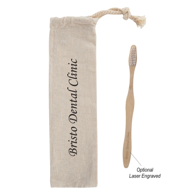 Bamboo Toothbrush in Cotton Pouch